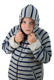 Small boy hidden in a hood isolated on white Royalty Free Stock Image