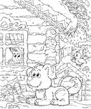 Small boy and his dog. Black-and-white illustration (coloring page): small boy looking out of the window and dog sitting in the yard vector illustration