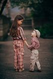 Small boy and his sister go for the walk Royalty Free Stock Photos