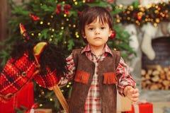 Small boy with hobbyhorse royalty free stock photo