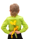 A small boy holding yellow tulips behind his back Royalty Free Stock Image