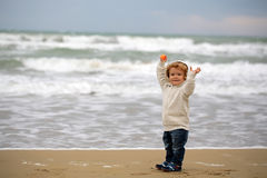 Small boy in hooded coat Royalty Free Stock Photography