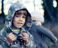 Small boy in a hoodie. Small smiling boy in a hoodie Royalty Free Stock Photos
