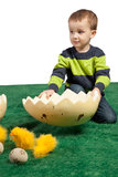 Small boy with huge egg shape and toy chicks Royalty Free Stock Images