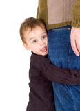 Small boy hugging his father. Isolated Royalty Free Stock Photography