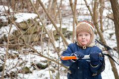 Small boy with ice axe Stock Images