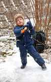 Small boy with ice axe Royalty Free Stock Image