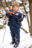 Small boy with ice axe Royalty Free Stock Photography