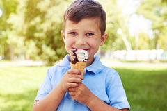 Small boy with ice-cream in the park on sunny day Stock Photos