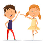Small boy and little child girl dancing, smiling Stock Photography