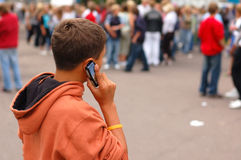 Small boy on the phone royalty free stock photo