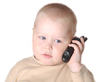 Small boy with phone Royalty Free Stock Photos