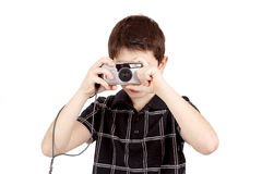 Small Boy Photographing Horizontal With Digital Camera Royalty Free Stock Photos