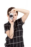 Small boy photographing vertical with digital camera Stock Photo