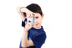 Small Boy Photographing Vwith Digital Camera Royalty Free Stock Photo