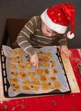 Small boy pointing at christmas cake Stock Photos