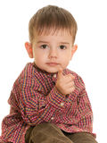 Small boy pointing forward Royalty Free Stock Images