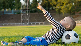 Small boy pointing at the sky Royalty Free Stock Photography