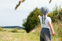 Small boy pointing to the nature Royalty Free Stock Photos