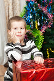 Small boy portrait with gifts Stock Images