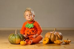 Small boy in pumpkin costume posing at studio.  stock images