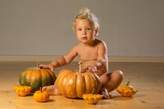 Small boy in pumpkin costume posing at studio.  stock photo