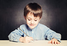 Small Boy Pupil Painting Royalty Free Stock Photos