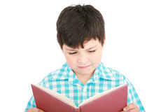 Small boy reading a book Royalty Free Stock Photography