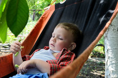 Small boy relaxing in a hammock Stock Photo