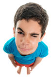 Small boy with a sad face isolated on white Stock Images