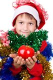 Small boy in santa's hat Stock Photo