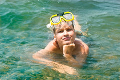 Small boy into the sea Royalty Free Stock Photo