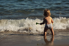Small boy in sea water Royalty Free Stock Photography
