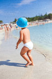 Small boy in the sea water Royalty Free Stock Photos
