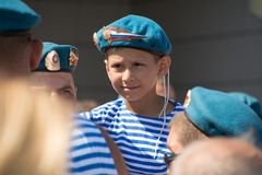 A small boy in the shape of an airborne Russian. Yoshkar-Ola, Russia - August 2, 2018 A small boy in the shape of an airborne Russian paratrooper during the day royalty free stock image