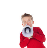 Small boy shouting through a megaphone Stock Image