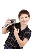 Small boy showing analog camera Stock Image