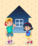 A small boy and a small girl standing in front of the small hous. Illustration of a small boy and a small girl standing in front of the small house Stock Photography