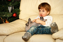 Small boy on the sofa at the Christmas tree Stock Image