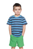 Small boy in striped shirt royalty free stock images