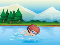 A small boy swimming. Illustration of a small boy swimming Royalty Free Stock Images