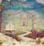 Small boy on a swing in  sky ,illustration art Royalty Free Stock Photos