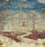Small boy on a swing in  sky Stock Images