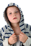 Small boy tired after sport match isolate on white Royalty Free Stock Photography