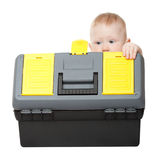 Small boy with toolbox Royalty Free Stock Images