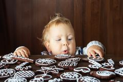 Small boy tries to grab traditional homemade Christmas ginger an. D chocolate cookie decorated with white sugar painting Royalty Free Stock Image