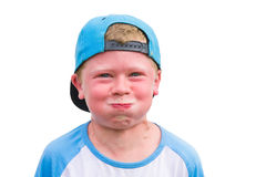 Small boy try to hold breath getting red Stock Image