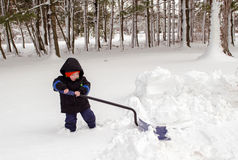 Small boy trying to shovel snow Stock Photos