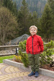 Small boy on vacation in the mountains Royalty Free Stock Image