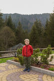 Small boy on vacation in the mountains Stock Photo